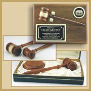 Gavel wall plaques and shadow boxes, Presentation gift sets, Crystal gavels and giant gavels are all available and in stock.