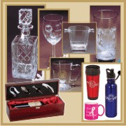 Glass, crystal, ceramic and stainless glassware, wine boxes, decanters, ice buckets and gift jars are available.