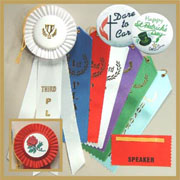 Stock Rosette, Award and trade show ribbons.   Express yourself with custom ribbons and buttons for any occasion.