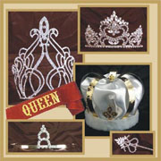 We have a large selection of Crowns, Tiaras and Scepters and King and Queen sashes in a variety of colors.