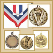 Engravable medals with ribbons for Sports, School, Religious, Organizational and Business events.  